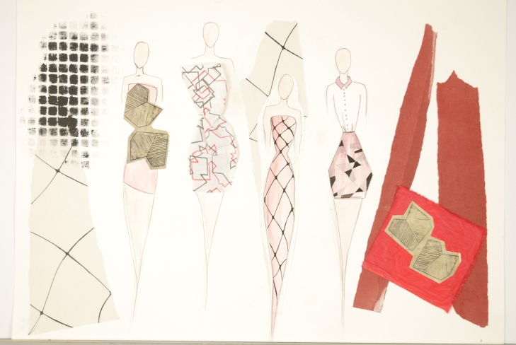 Fashion illustration using some cuttings from my fabric samples.